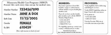 MHCP Member ID card March 2006 thorugh present
